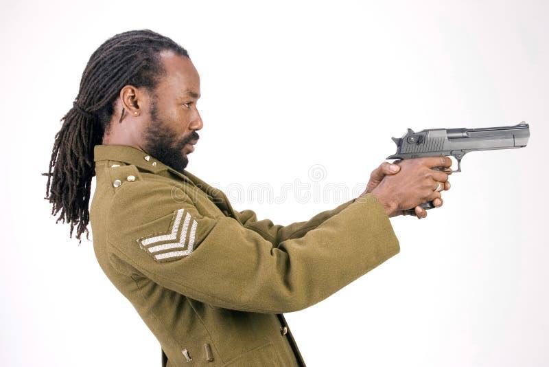 Hombre negro del ejército de Rasta foto de archivo libre de regalías