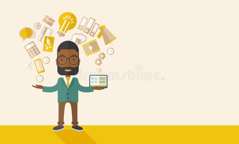 Hombre negro feliz que goza haciendo trabajos múltiple ilustración del vector