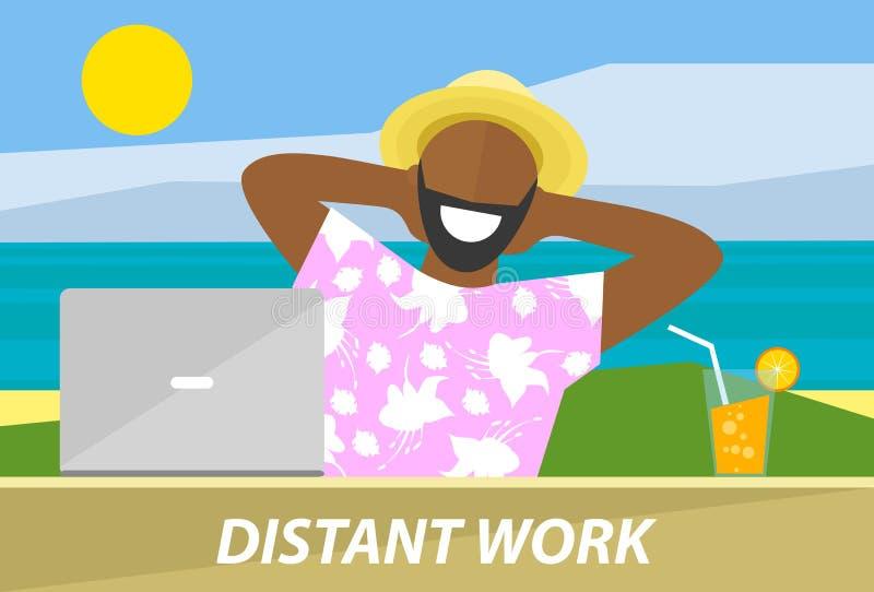 Hombre negro feliz que trabaja remotamente en un ordenador portátil ilustración del vector