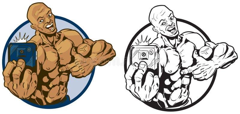 Hombre negro muscular que toma el ejemplo del vector de Selfie ilustración del vector