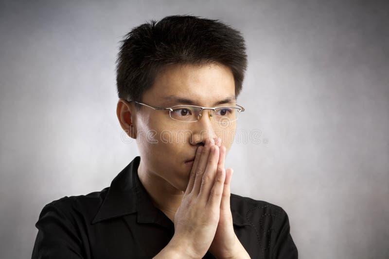 Hombre nervioso fotografía de archivo libre de regalías