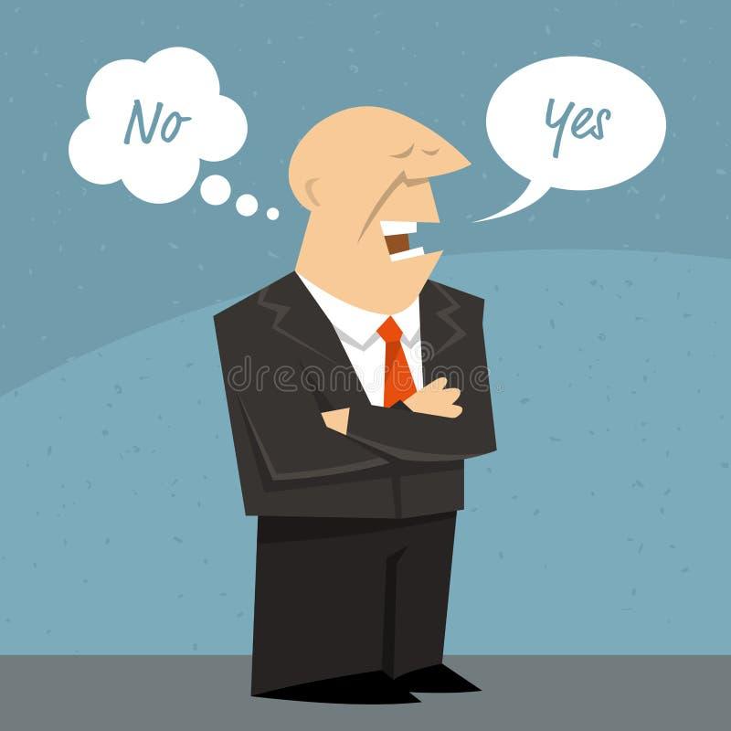Hombre o político de negocios que dice una mentira stock de ilustración