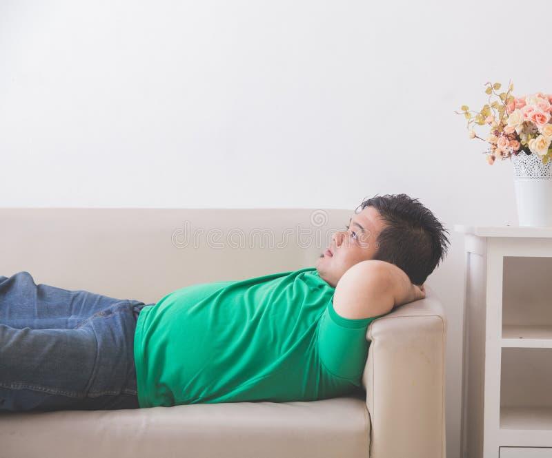 Hombre obeso gordo perezoso que duerme en el sofá imágenes de archivo libres de regalías