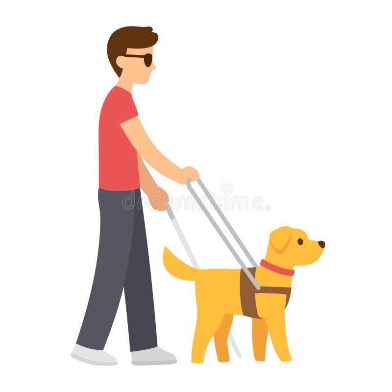 Hombre oculto con el perro de guía stock de ilustración