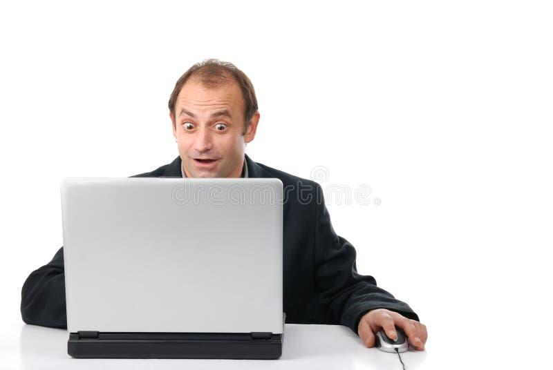 Hombre, ordenador, Internet fotografía de archivo libre de regalías
