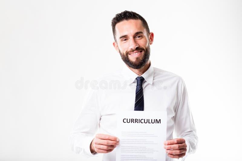 Hombre Orgulloso Que Muestra Su Curriculum Vitae De Mérito Imagen de ...