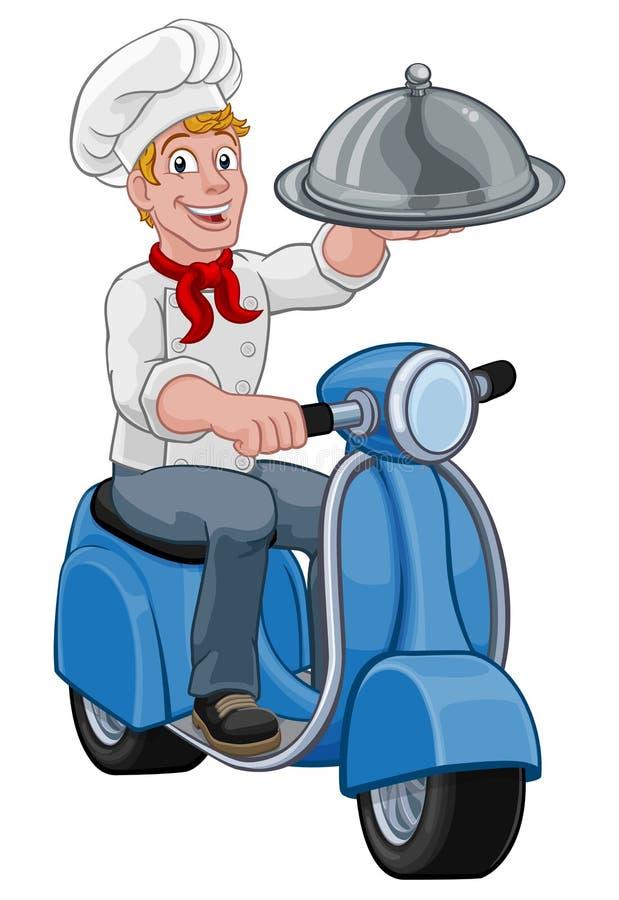 Hombre para llevar de Scooter Moped Cartoon del cocinero de la entrega ilustración del vector