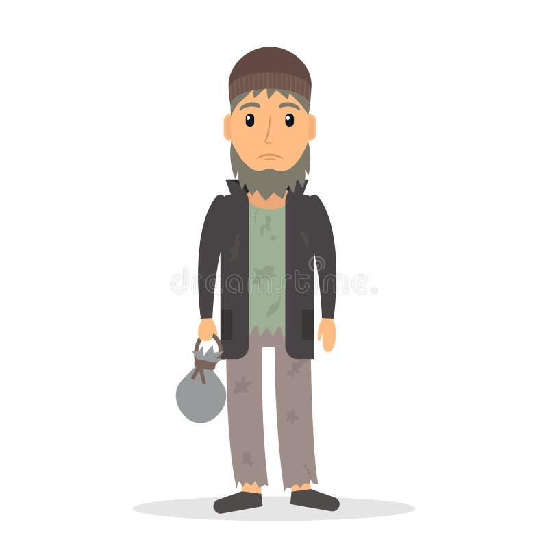 Hombre parado sin hogar en estilo plano ilustración del vector