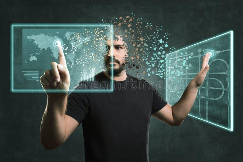Hombre a partir del futuro que actúa con los monitores flotantes Concepto para la realidad y la tecnología aumentadas ilustración del vector