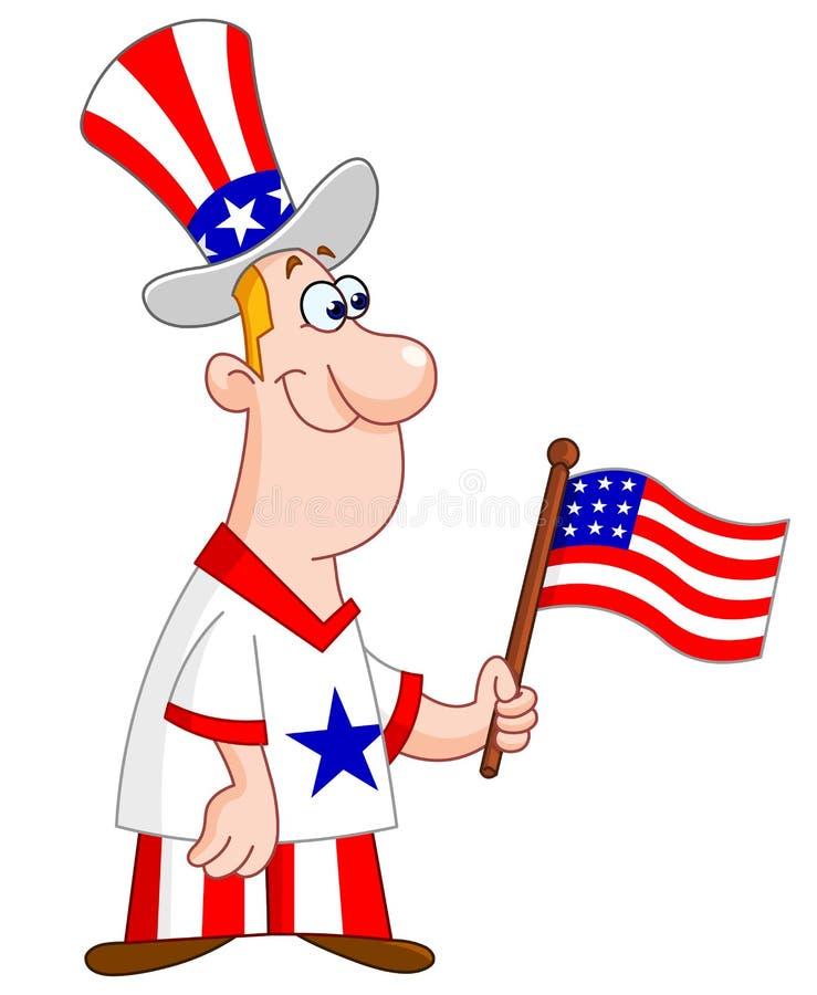 Hombre patriótico stock de ilustración