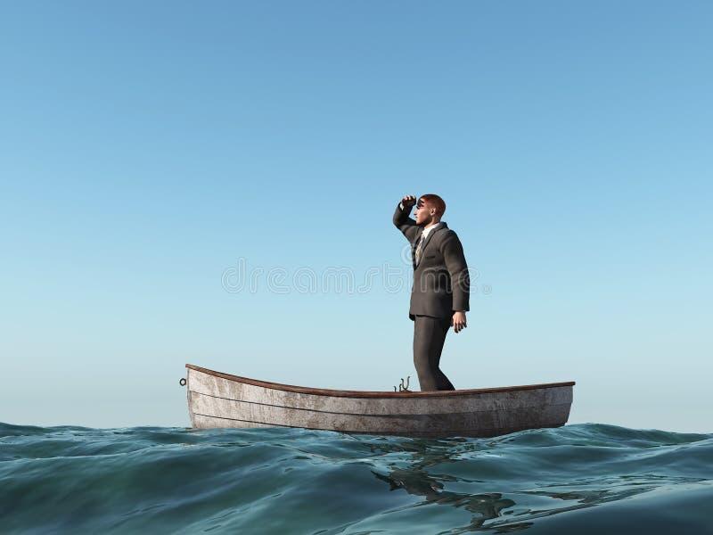 Hombre perdido en un barco ilustración del vector