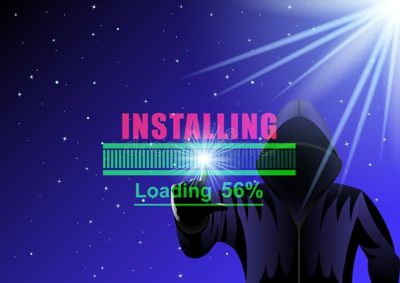 Hombre, pirata inform?tico y barra de cargamento encapuchados en un fondo digital del cielo estrellado de la noche libre illustration