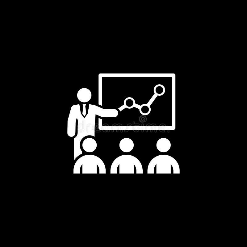 Hombre plano de entrenamiento del concepto de dise?o del icono del negocio con la audiencia ilustración del vector