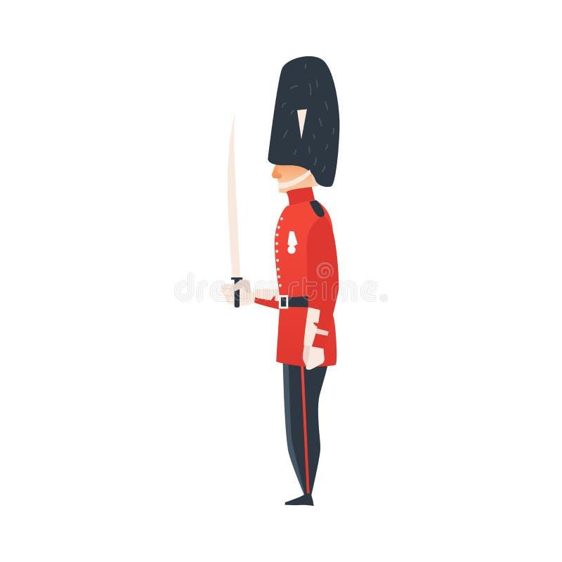 Hombre plano del guardia de la reina del vector aislado libre illustration