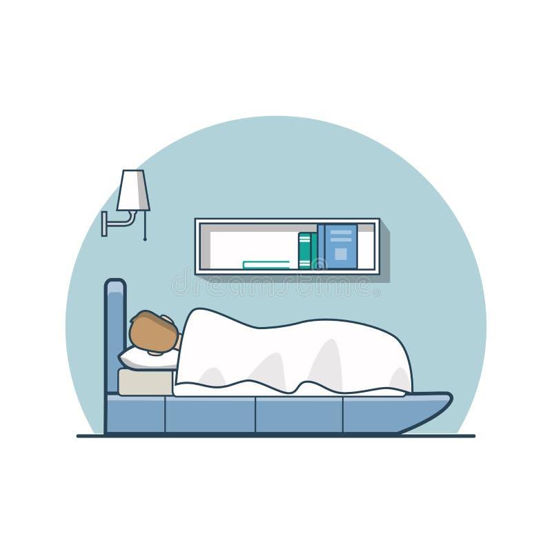 Hombre plano linear con la manta que duerme en cama ilustración del vector