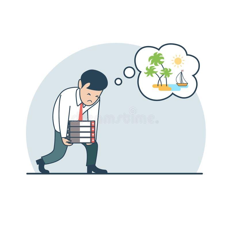 Hombre plano linear de la carga del negocio stock de ilustración