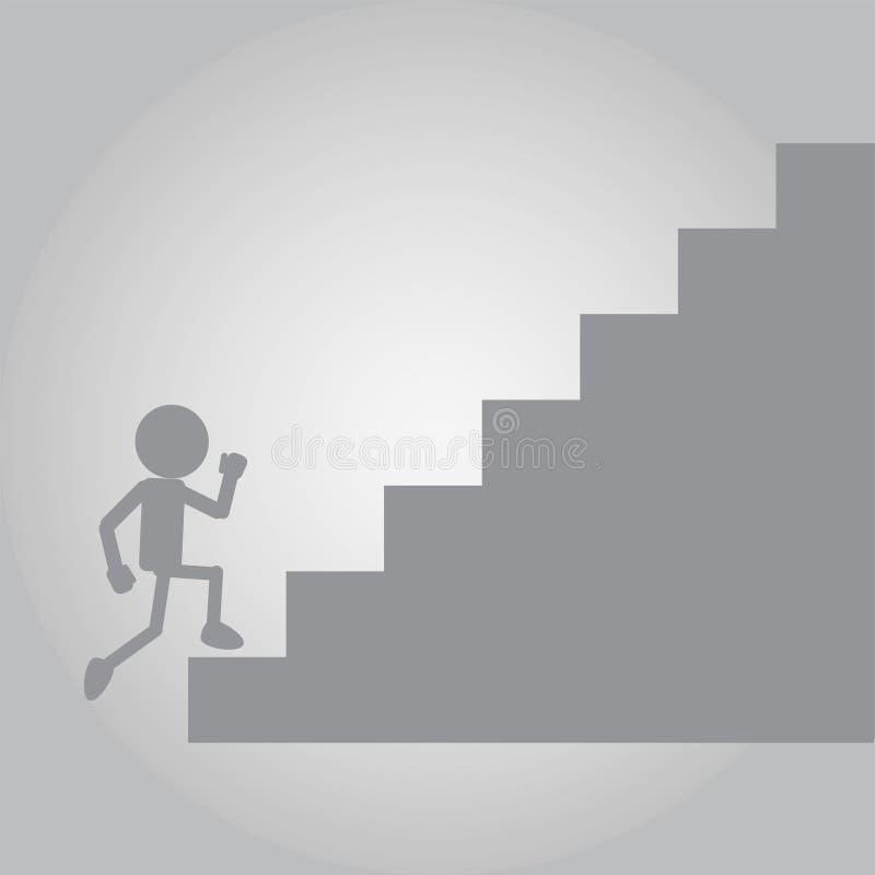 Hombre plano que corre en la escalera ascendente del desafío stock de ilustración
