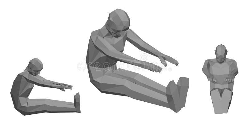 Hombre polivinílico bajo que hace la inclinación adelante asentada ilustración del vector 3d libre illustration