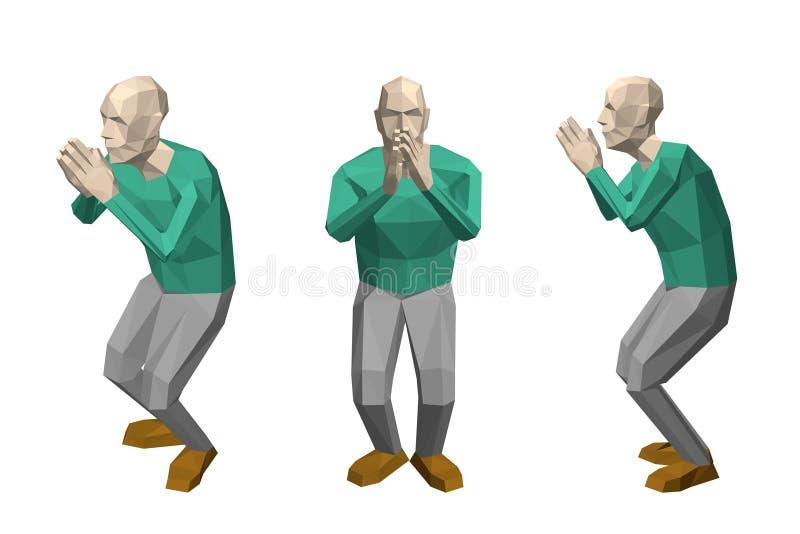 Hombre polivinílico bajo que ruega Aislado en el fondo blanco Illus del vector stock de ilustración