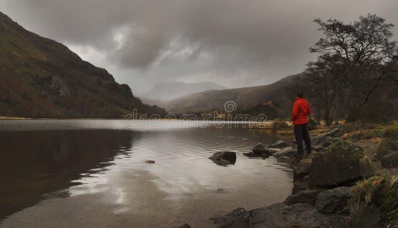 Hombre por el lago fotografía de archivo libre de regalías