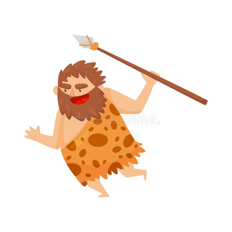 Hombre prehistórico de la Edad de Piedra divertida que corre con la lanza, ejemplo primitivo del vector del personaje de dibujos  stock de ilustración