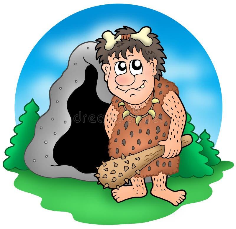 Hombre prehistórico de la historieta antes de la cueva ilustración del vector