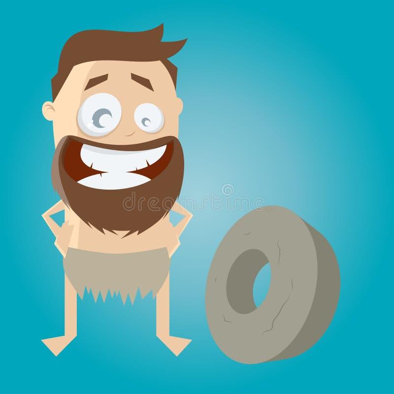 Hombre prehistórico de la historieta con la rueda stock de ilustración