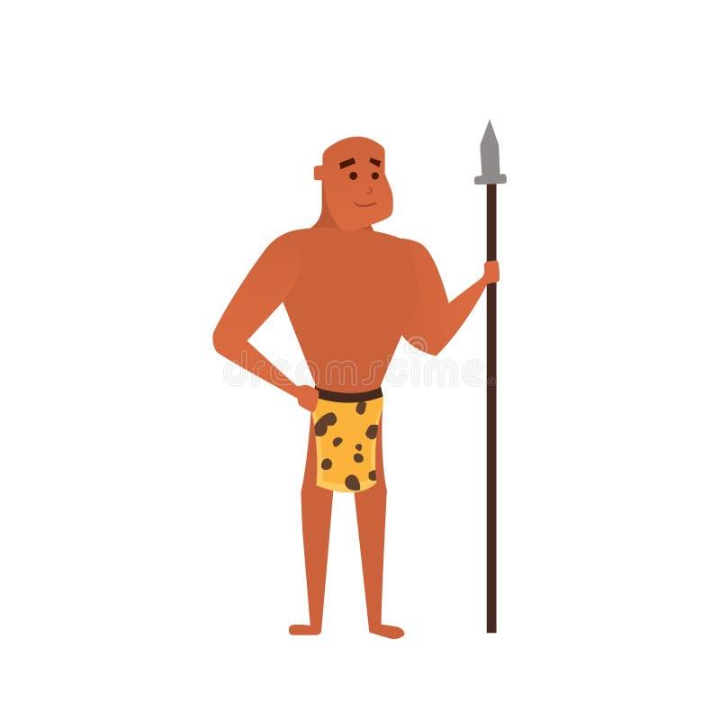 Hombre prehistórico del vector Ejemplo de la historieta del hombre de las cavernas stock de ilustración