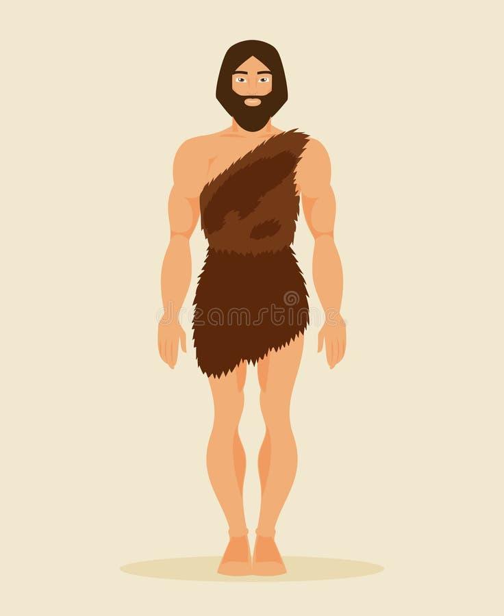Hombre primitivo, neanderthal Ilustración del vector stock de ilustración