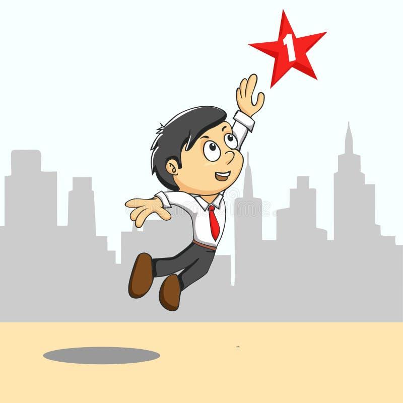 Hombre que alcanza para la estrella stock de ilustración