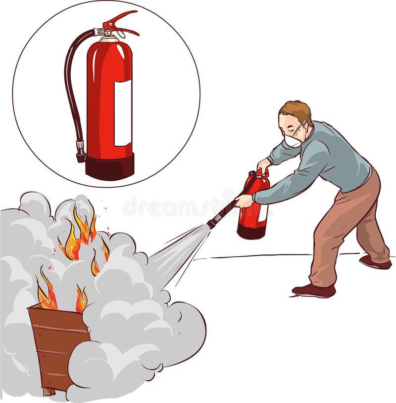 Hombre que apaga un fuego stock de ilustración