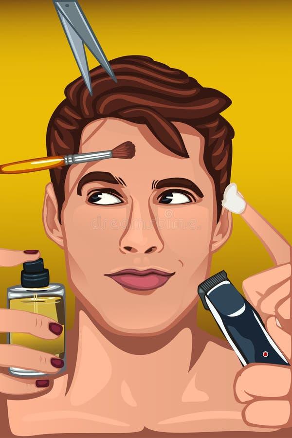 Hombre que aplica diversos productos de belleza a la cara libre illustration