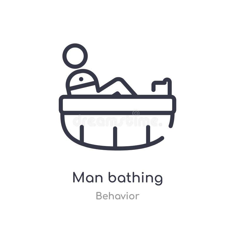 hombre que baña el icono del esquema l?nea aislada ejemplo del vector de la colecci?n del comportamiento hombre fino editable del ilustración del vector