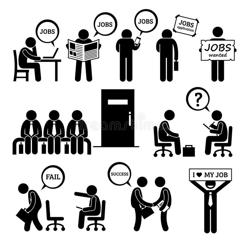 Hombre que busca Job Employment y la entrevista Cliparts libre illustration