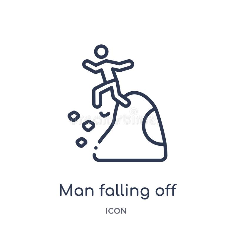 hombre que cae apagado un icono del precipicio de la colección del esquema de los deportes Juez de línea fino que cae apagado un  libre illustration