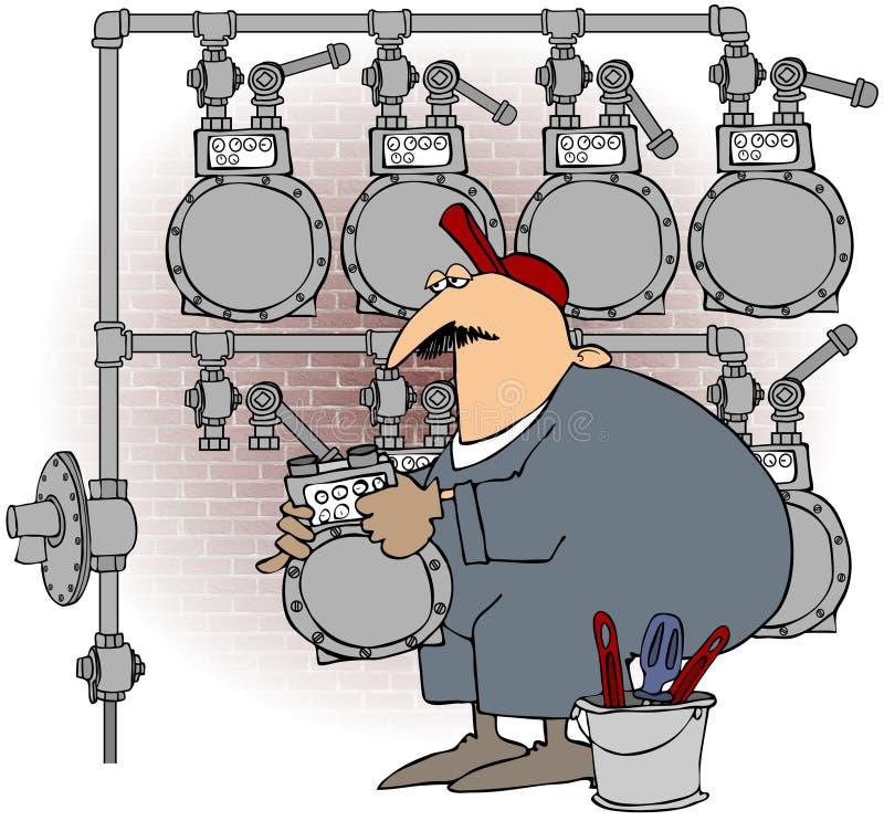 Hombre que cambia un contador de gas stock de ilustración