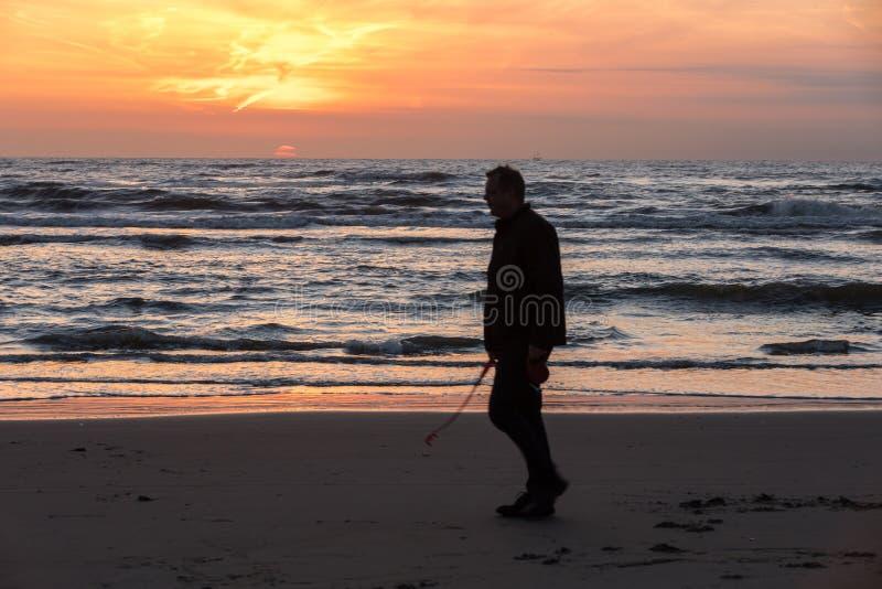 Hombre que camina en la playa en Katwijk en la puesta del sol netherlands imágenes de archivo libres de regalías