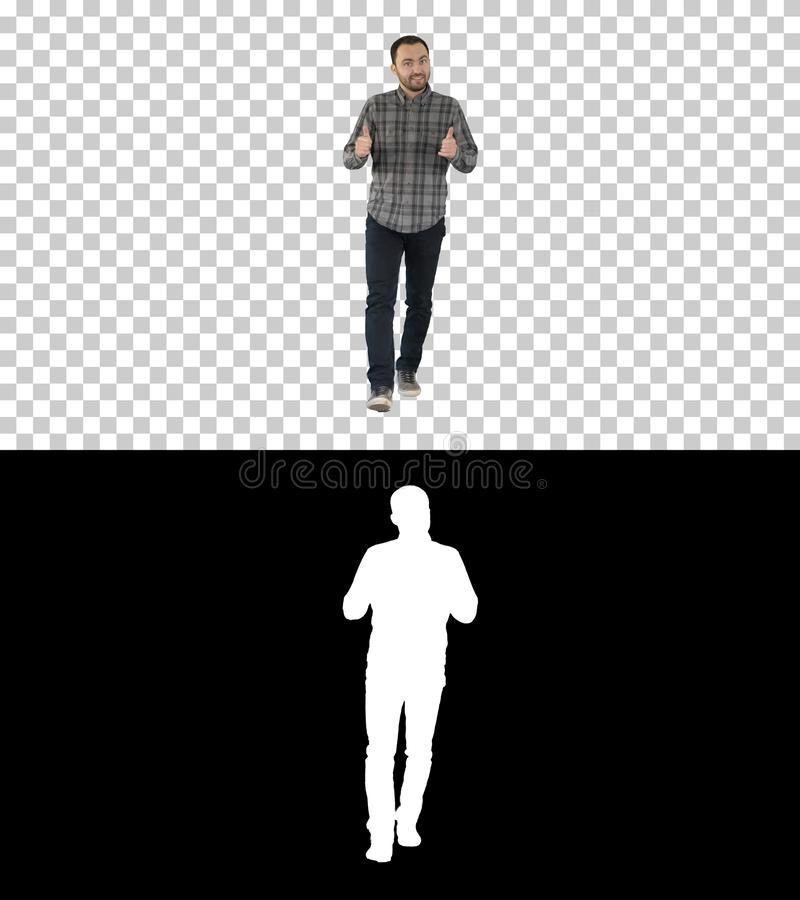 Hombre que camina que señala y que explica algo, Alpha Channel fotografía de archivo libre de regalías