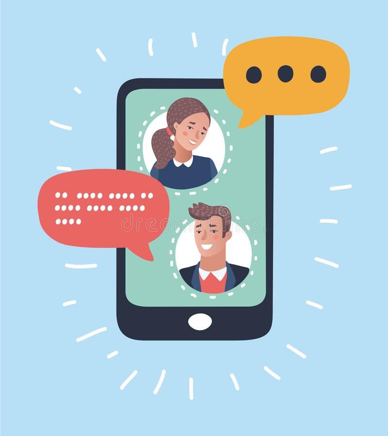 Hombre que charla con la mujer Mensaje de diálogo, concepto de la charla ilustración del vector