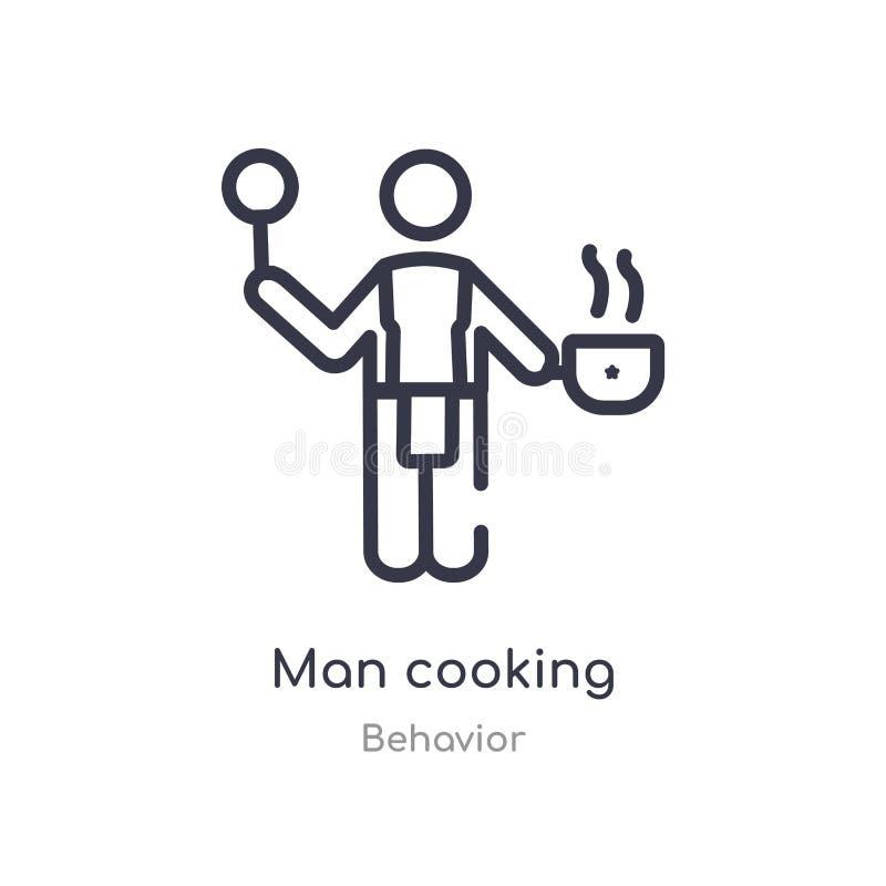 hombre que cocina el icono del esquema l?nea aislada ejemplo del vector de la colecci?n del comportamiento hombre fino editable d stock de ilustración