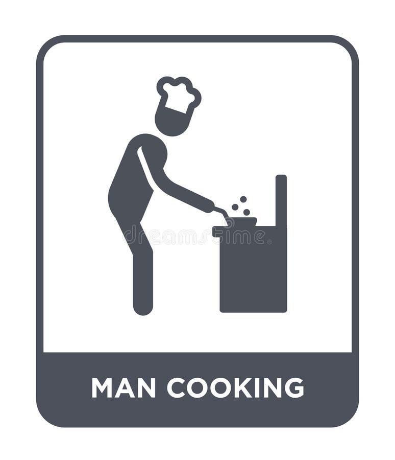 hombre que cocina el icono en estilo de moda del diseño hombre que cocina el icono aislado en el fondo blanco hombre que cocina e libre illustration