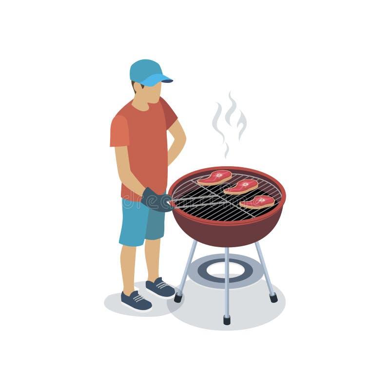 Hombre que cocina en la parrilla libre illustration