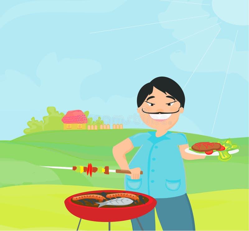 Hombre que cocina en su barbacoa. libre illustration