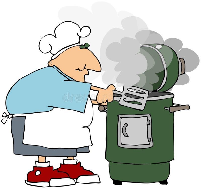 Hombre que cocina en un fumador libre illustration