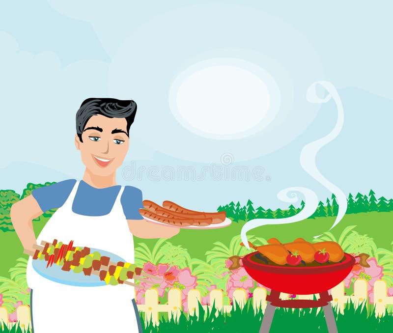 Hombre que cocina la carne en parrilla libre illustration