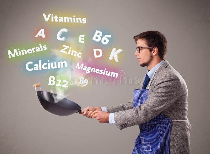 Hombre que cocina las vitaminas y los minerales ilustración del vector