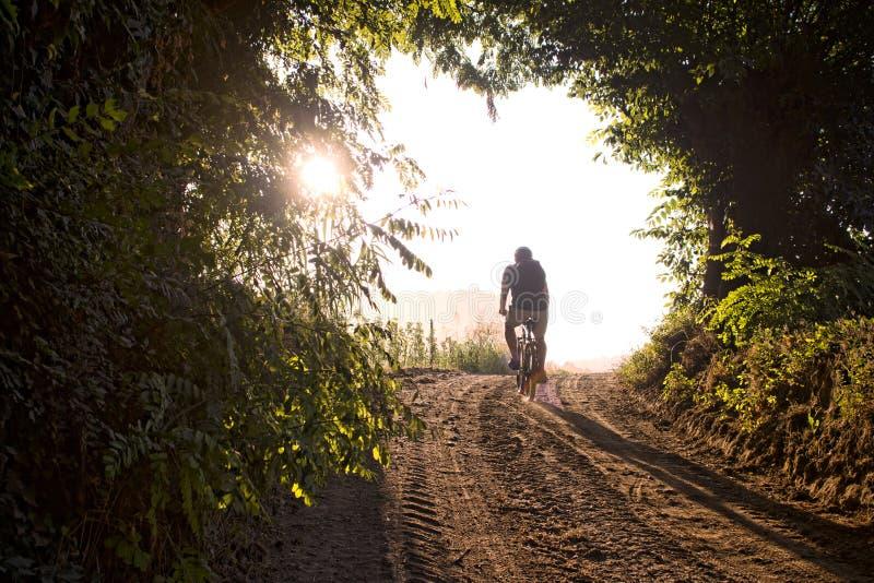 Hombre que completa un ciclo en la bici de montaña a lo largo del rastro del país fotos de archivo