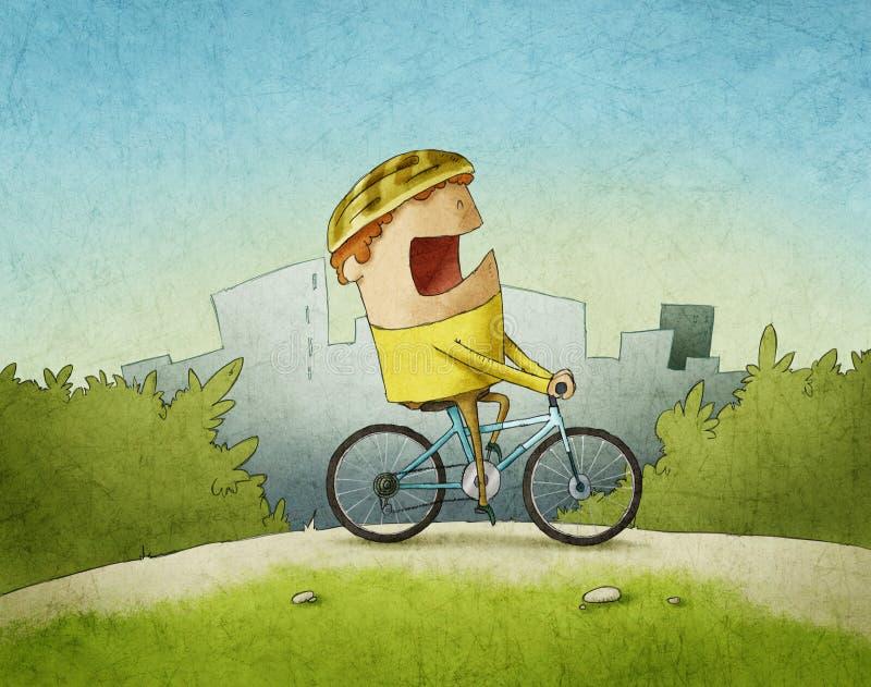 Hombre que completa un ciclo a través de parque ilustración del vector