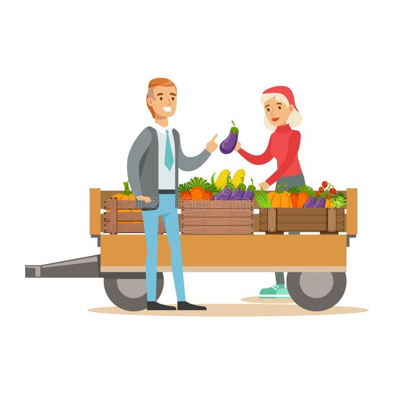 Hombre que compra verduras frescas de la mujer con el cultivo del carro, de la granja de Working At The del granjero y de la vent ilustración del vector