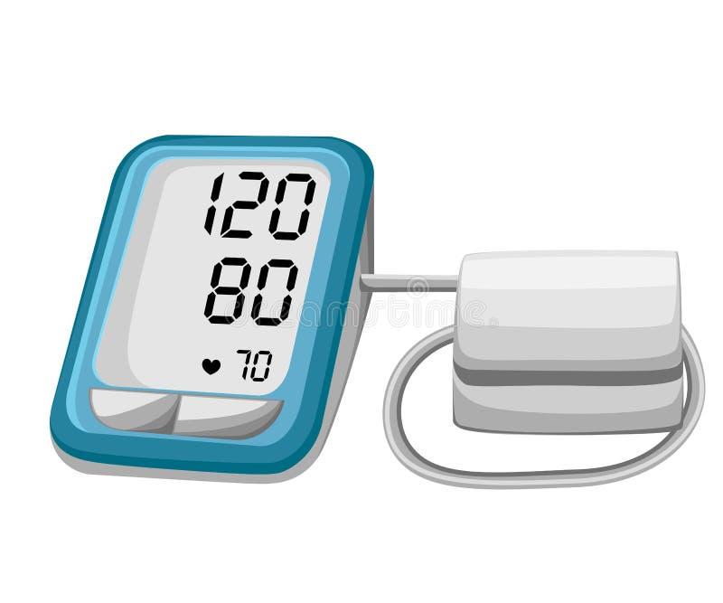 Hombre que comprueba la presión arterial arterial Tonometer del dispositivo de Digitaces Equipamiento médico Diagnostique la hipe libre illustration